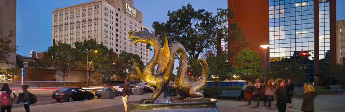 Drexel University Dragon on campus